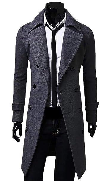 Chaqueta De Náutica De Doble Botonadura para Hombres Chaqueta De Guisante Abrigo De Lana Chaqueta De Tweed Chaquetón Negro: Amazon.es: Ropa y accesorios