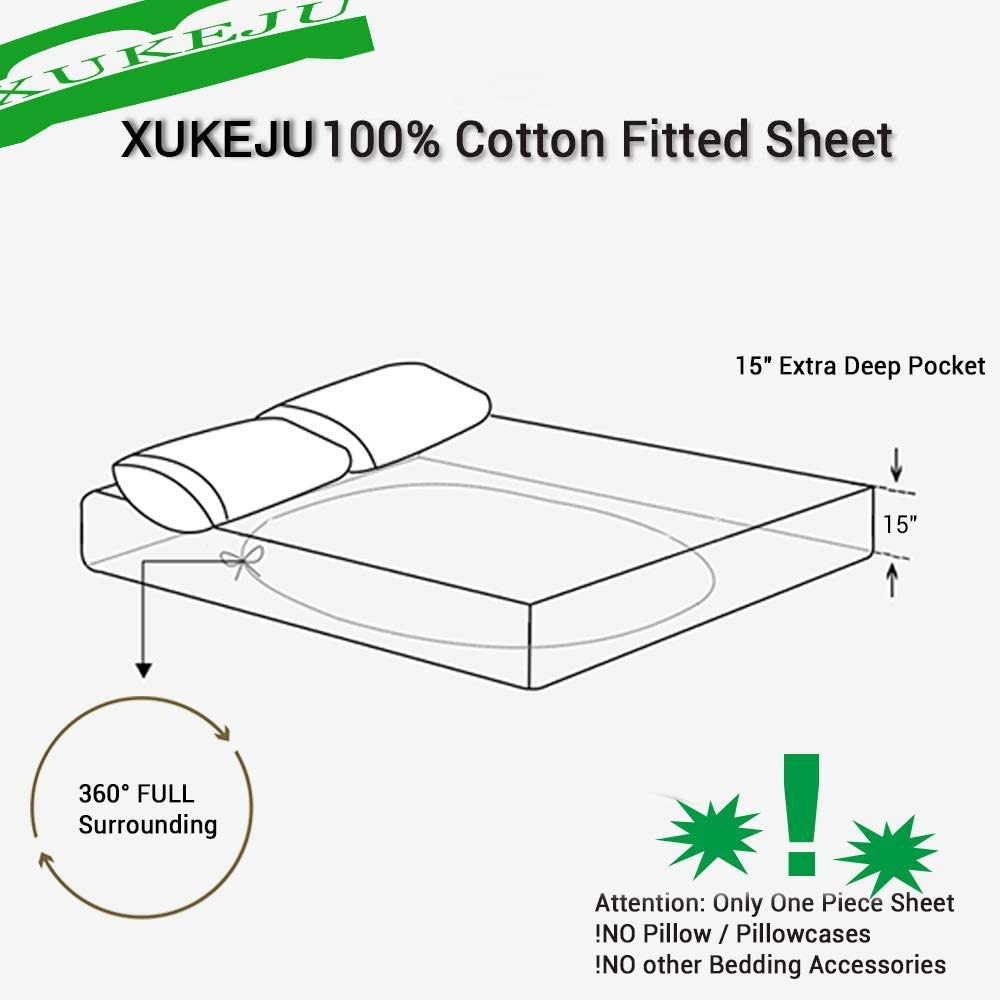 XUKEJU 【100/% Cotton Printing Cactus Fitted Sheet Queen Size 60x80 with 15 Deep Pocket Design Patterns Green Mattress Cover for Kids//Adults