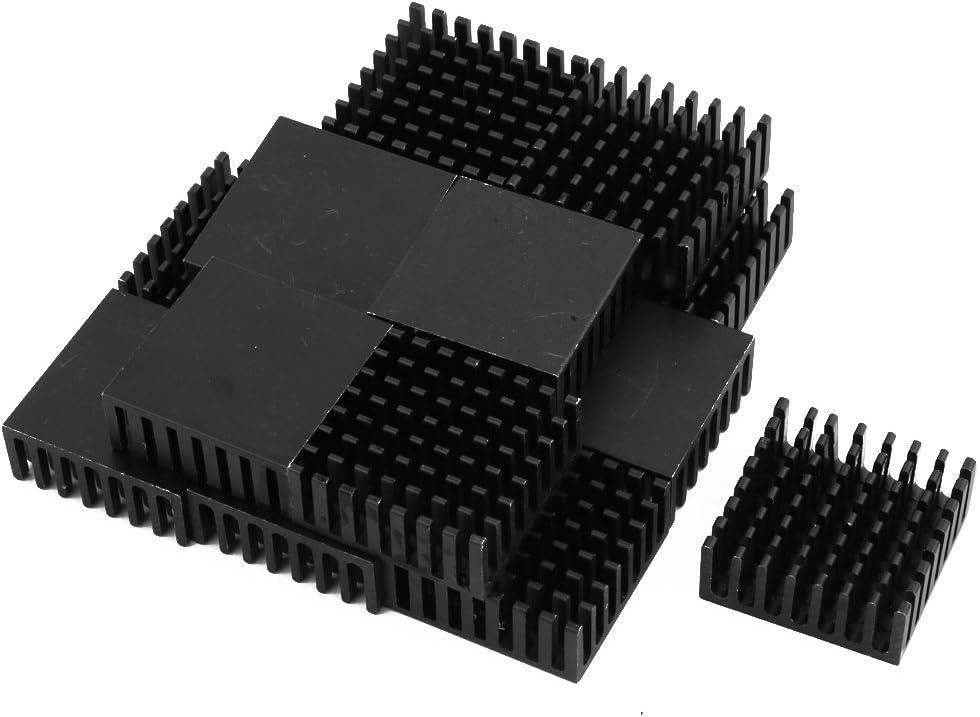 uxcell 15Pcs 25mm x 25mm x 10mm Aluminum Heatsink for LED Power IC Transistor Black