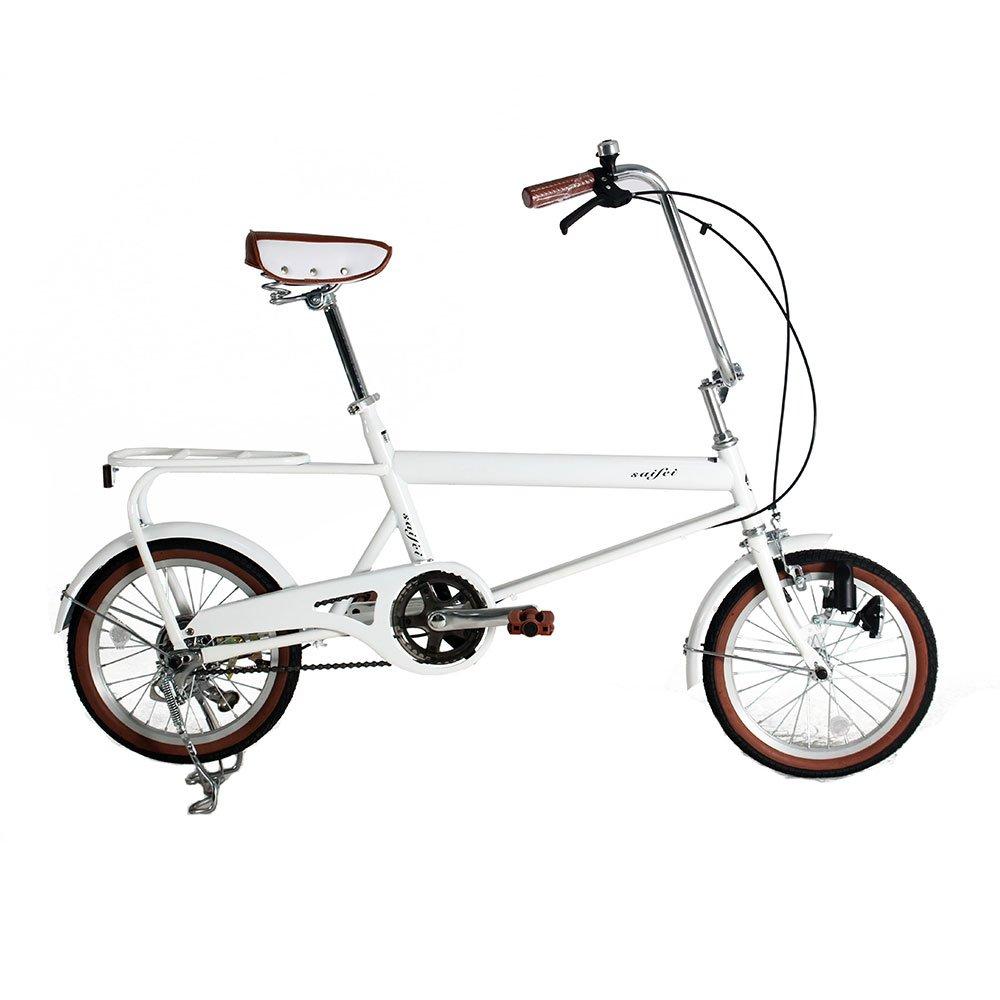 ベット乗せ自転車 16インチ ミニベロ 小径車 自転車 荷物たっぷりOK お買い物便利 95%完成車 B079JWDGNV ホワイト ホワイト