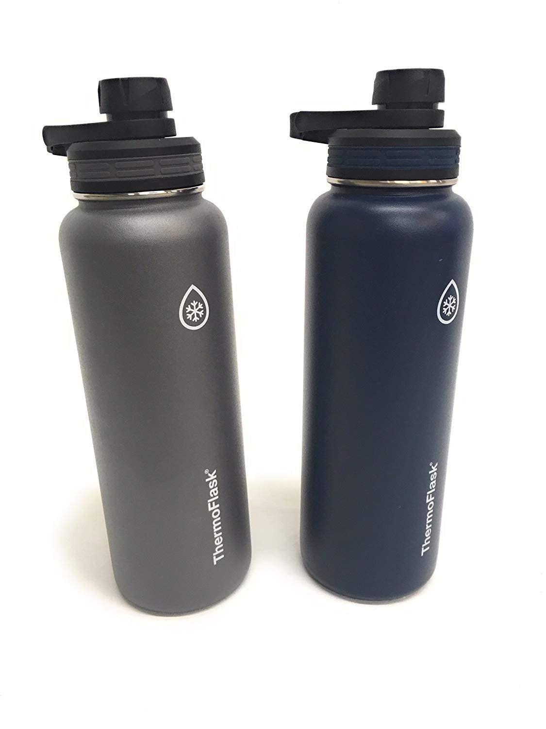 ThermoFlask 24-Ounce Double Wall Vacuum Insulated Stainless Steel Water Bottles 2-Piece (Grey/Dark Blue)