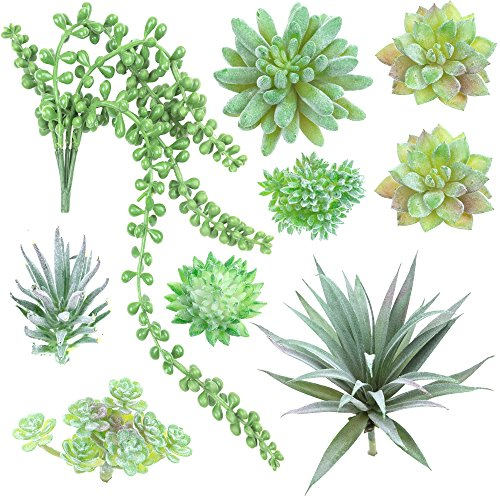 Fake Succulent Plants - Set of 9 Artificial Succulent Plants - Green - Fake Plants for Decoration