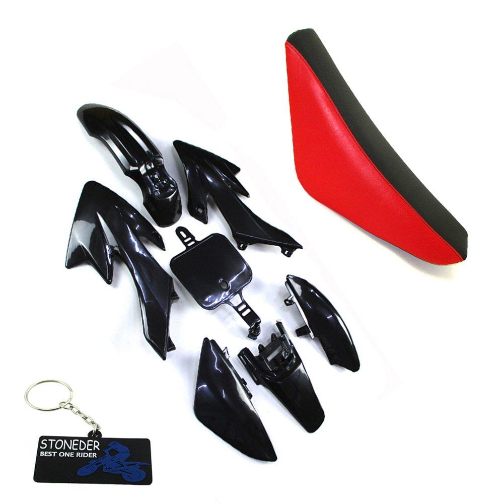 STONEDER plastica carenatura nero-rosso Tall schiuma sella per XR50/CRF50/Pit Dirt bike 50/125/160/CC