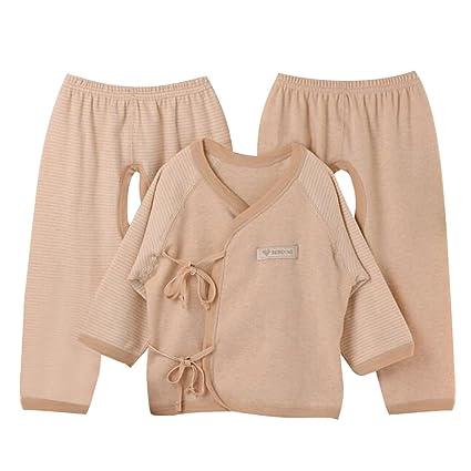 Highdas Ropa interior infantil recién nacido Tres piezas sin costura traje de algodón orgánico bebé beige