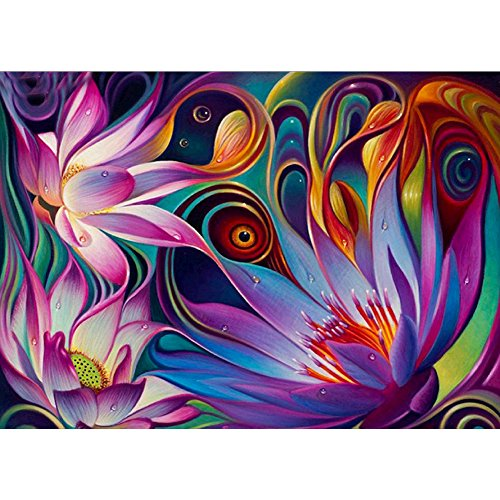 DIY 5D Diamond Painting by Number Kits, Crystal Rhinestone Diamond Embroidery Paintings Pictures Arts Craft for Home Wall Decor, Full Drill - Lotus