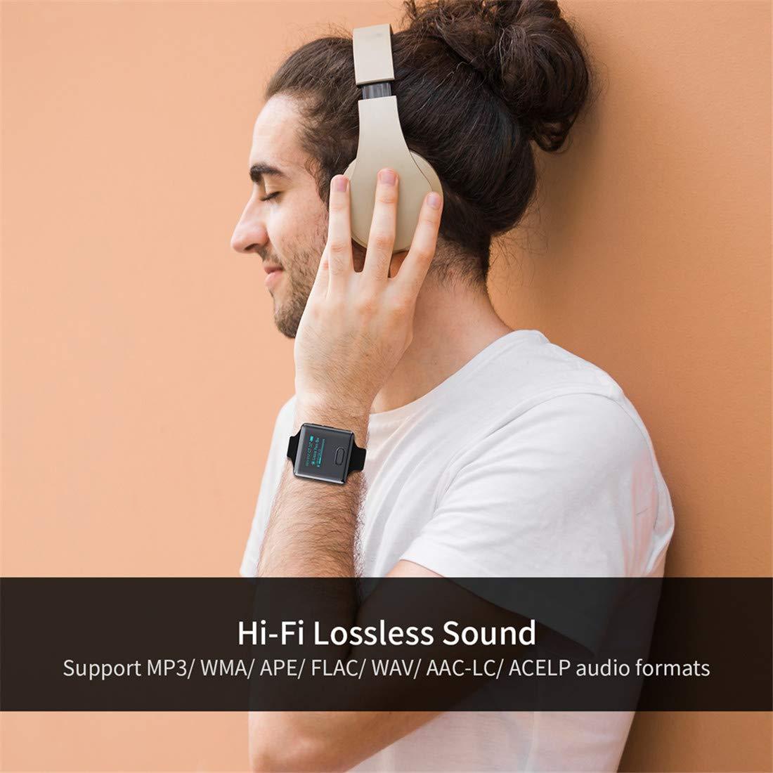 16GB Bluetooth Uhr MP3 Player mit Clip Schrittz/ähler Radio Sprachaufnahme Sport Audio Musik Player Speicher Erweiterbar bis zu 128 GB Wiwoo MP3 Player U3
