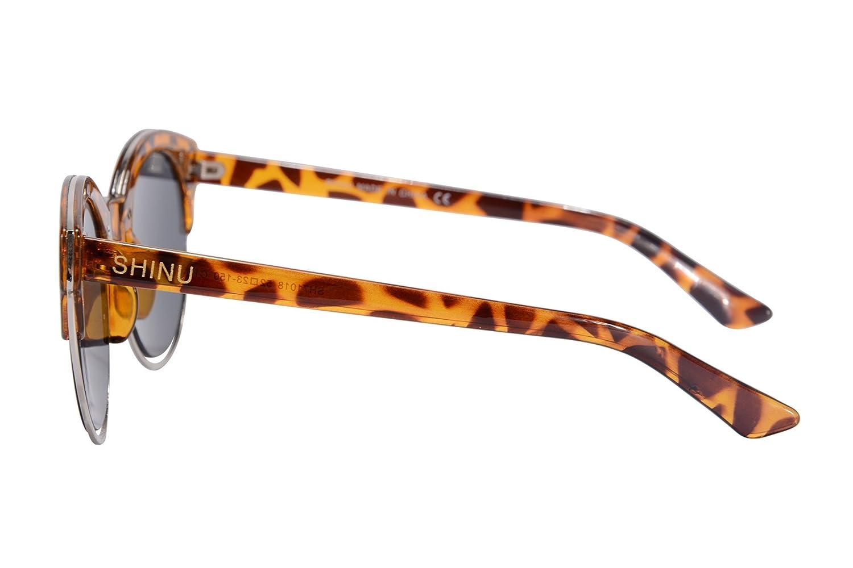 SHINU Frauen Sonnenbrille Retro Round Brille Feld Gläser für Frauen ...