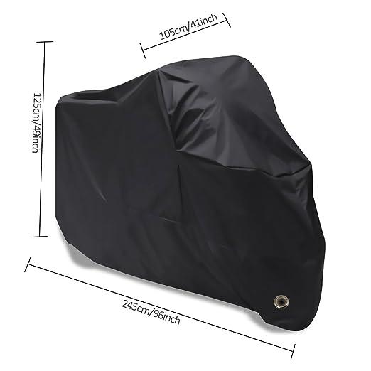 Funda Protector para Moto Vanwalk Cubierta de Motocicleta Impermeable Anti UV para Honda, Yamaha, Suzuki, Harley (245x105x125cm, Negro): Amazon.es: Coche y ...