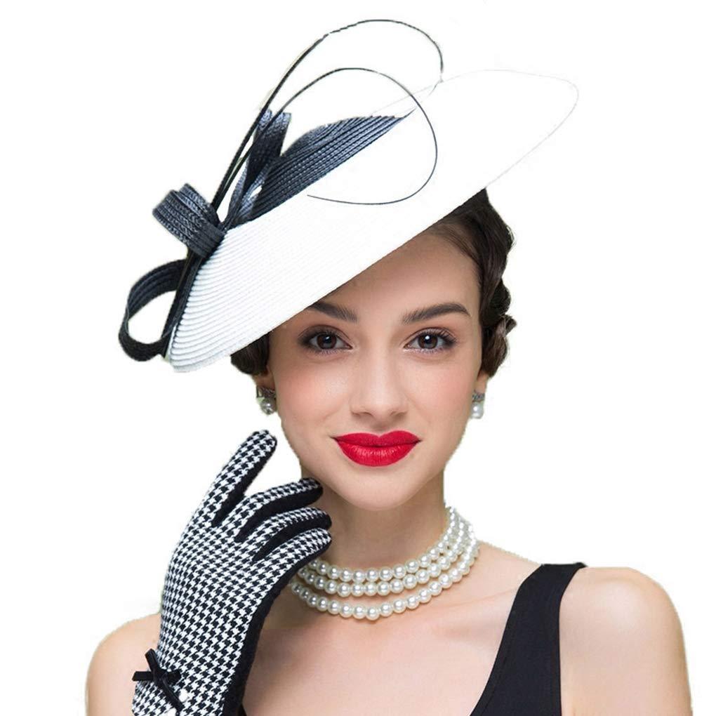 Fascinators Hat for Women Church Hats Elegant Weddings Pillbox Hat Ladies Vintage Straw Fedoras White by HappyShopDecoration