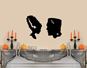 "ValueVinylArt Frankenstein and Bride Silhouette Halloween Wall Decal- Black (22"" w X 15"" h)"