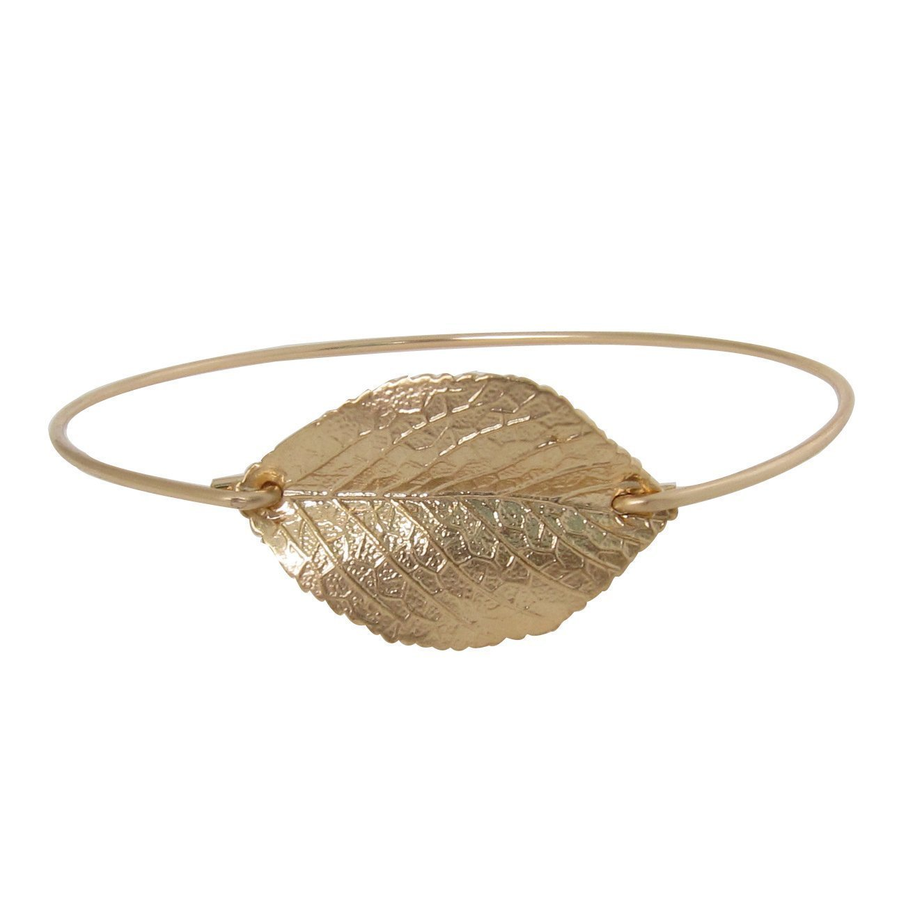 Frosted Willow Nature Jewelry Gift Collection Claspless Leaf Bangle Bracelet (Gold-Plated, 8 Inch)