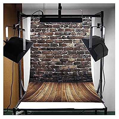 FUT Retro Brick White Lime Wall & Wooden Floor LESS CREASE Vinyl Backdrop Background Ideal for Newborn, Children, and Product Photography 5x7ft(Updated Material)