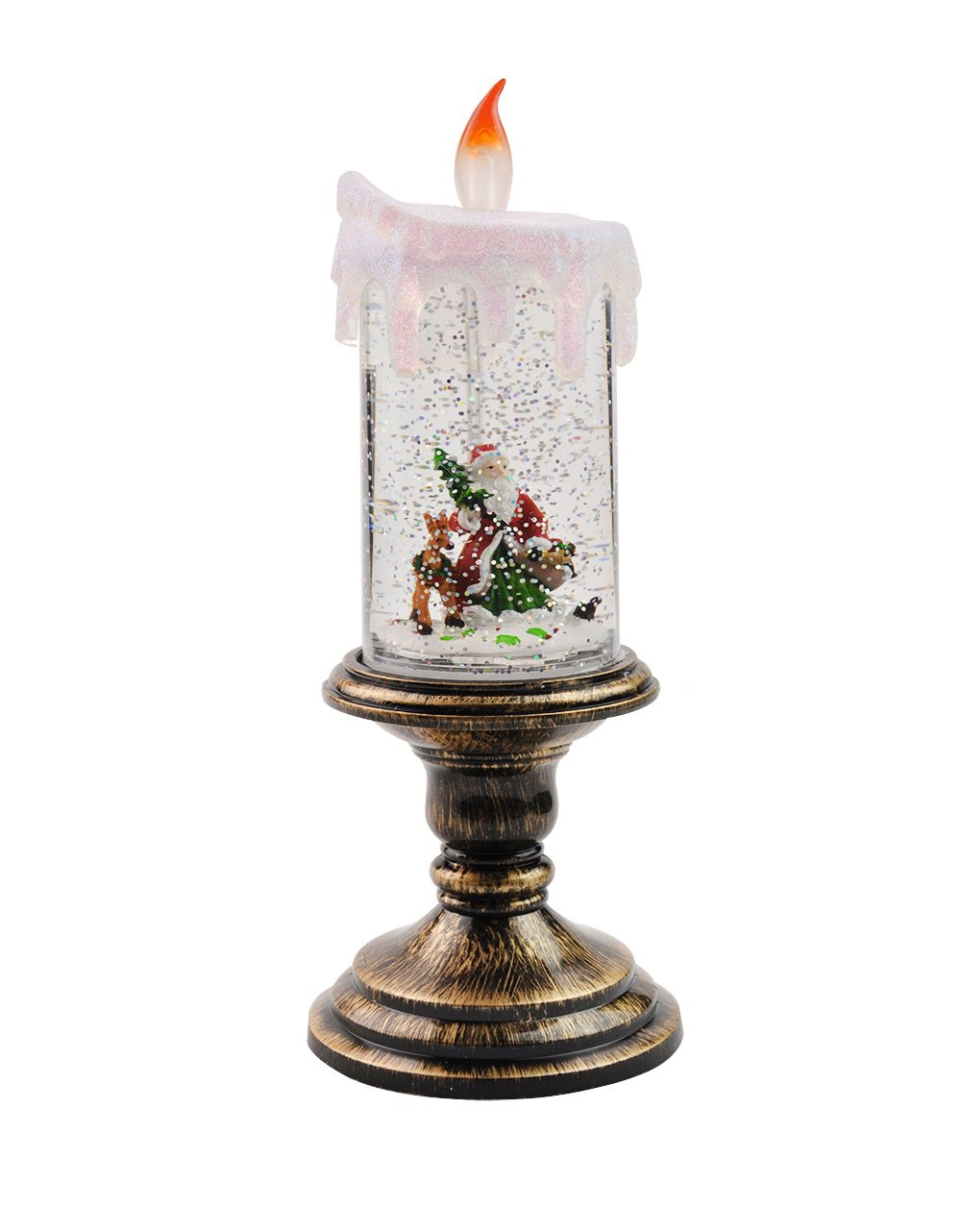 Eldnacele Battery Operated Lighted Flameless Candles Christmas Santa Claus Water Spinning Candles for Home Decoration(Santa Claus)