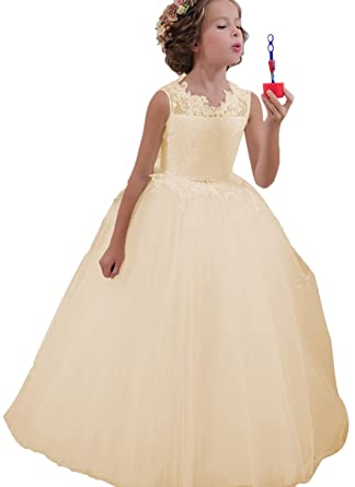 1218cb789daee Amazon.com: Momabridal Long Applique Tulle Flower Girl Dresses Crew Neck  Communion Party Ball Gowns Champagne 14: Clothing