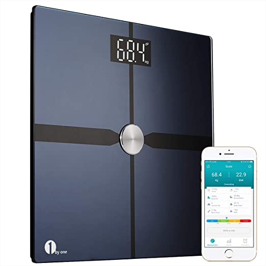 1byone Smart Bathroom Body Scale - Bluetooth Body Fat Scale with APP to Monitor 8 Essential Measurements, ITO Conductive Glass, FDA Approved Body Composition Analyzer Wireless BMI Weight Scale – Black