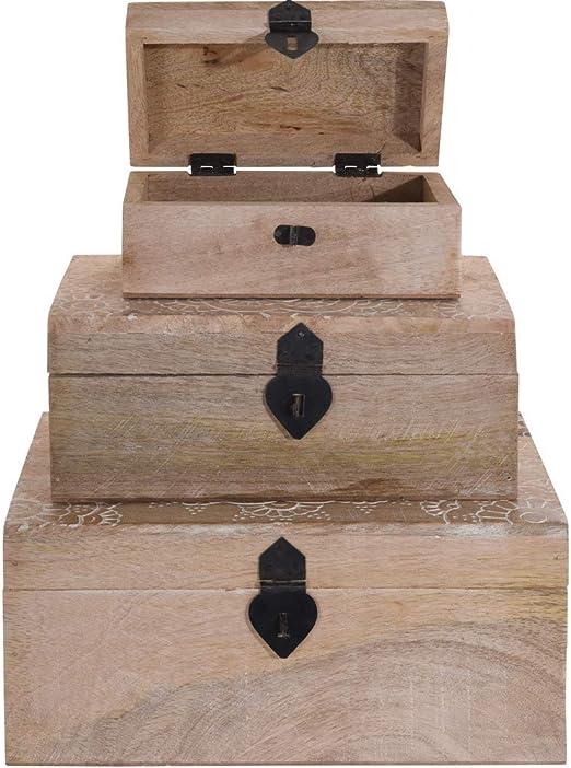 BC Footwear CB A44310130 - Caja Decorativa de Madera para Objetos pequeños con Tapa de Madera de Mango Natural: Amazon.es: Hogar