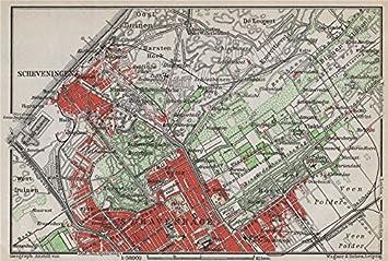 wind surfer Scheveningen around 1900: canvas print historical city map Dutch gift gift Scheveningen print gift Holland fan The Hague