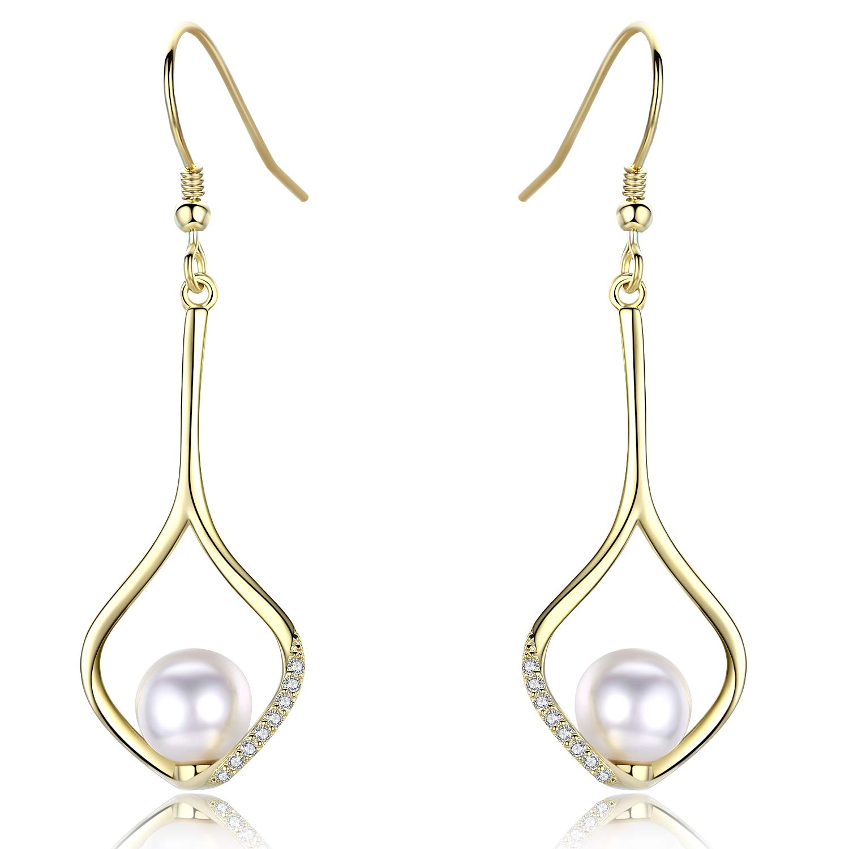 CUOKA MIRACLE Pearl Dangle Earrings Sterling Silver Twist Wave Infinity Love Drop Earrings 14k Gold Plated with Cubic Zirconia for Women Girls