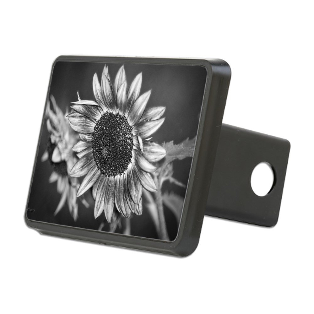 CafePress - Black and White Sunflower - Trailer Hitch Cover, Truck Receiver Hitch Plug Insert by CafePress