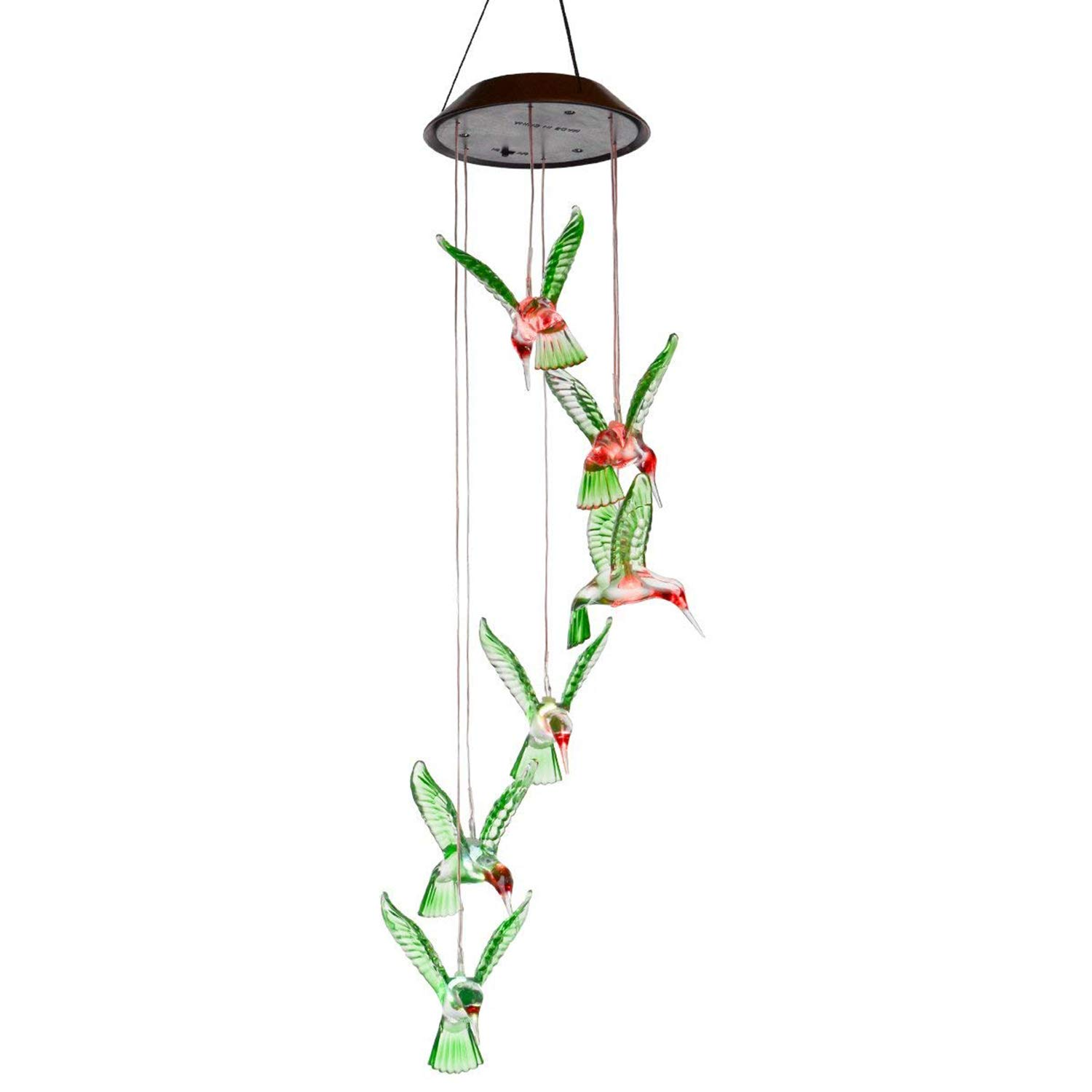 YQing Solar Hummingbird Wind Chimes, LED Changing Light Color Mobile Wind Chime, Waterproof Six Hummingbird Wind Chimes For Home,Party, Garden Decoration
