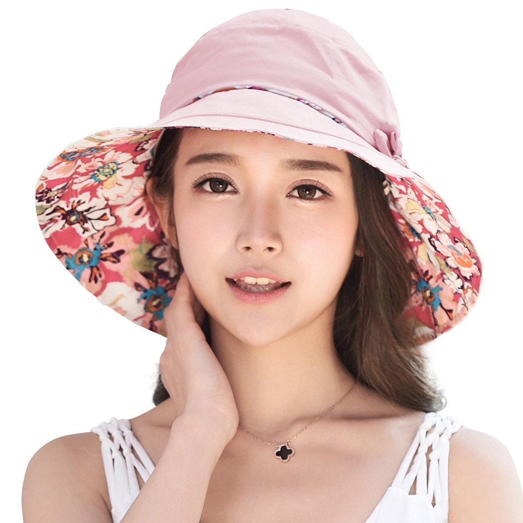 7ca9c1e1949 Siggi Ladies Bucket Summer Sun Hat Foldable Beach Cap Wide Brim UPF50+  Packable for Women product