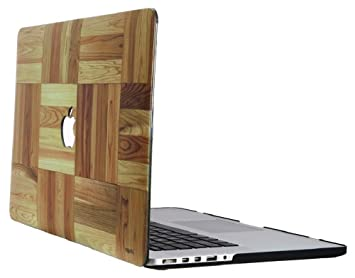 Heartly Printed Flip Thin Hard Shell Rugged Armor Back Case For MacBook Retina 12 quot; inch Retina Display A1534   Square Wooden Style