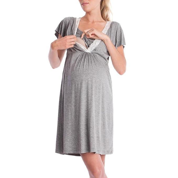 QUICKLYLY Ropa Embarazadas Vestido Enfermería Mujer Top Cruzado Diseño de Capa Premamá y de Lactancia Mangas