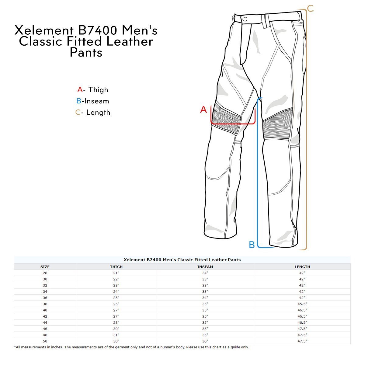 Xelement B7400 Classic Mens Fitted Leather Pants - 48