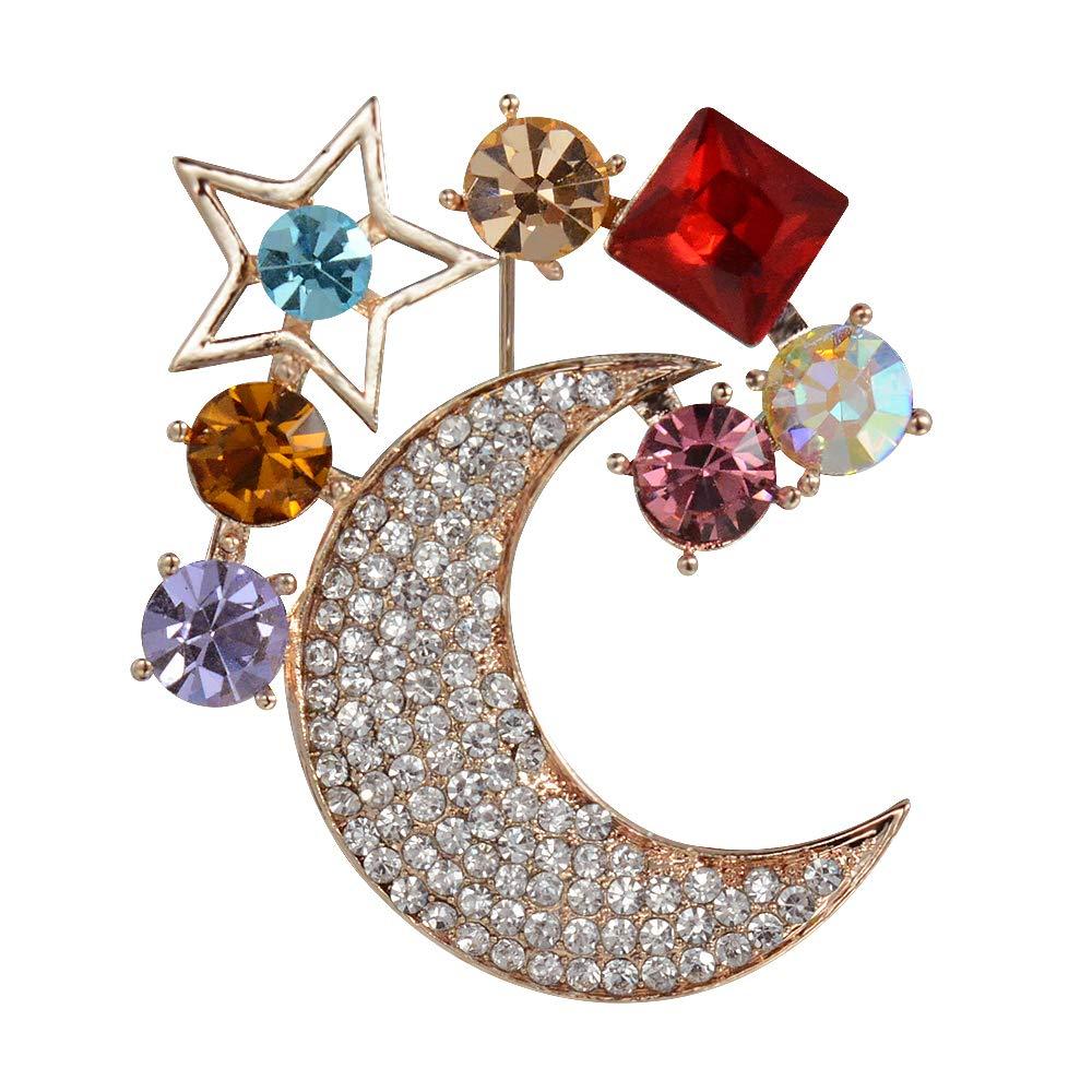 e5c5553276a Amazon.com: Mamfous Multicolor Austrain Crystal Moon Star Brooch for Women  with Rhinestone Jewelry (Silver): Jewelry