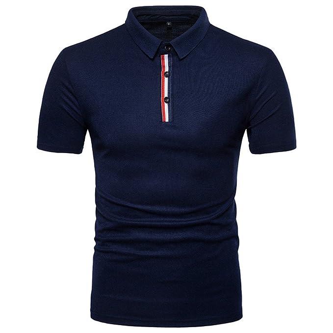 563169cdd617 Klassisches Poloshirt Herren Sommer Slim Fit Polo Kurzarm T Shirt Top  Stehkragen Polohemd Shirt Einfarbige T-Shirt Hemden Freizeithemd Zhen+  Männer Sport ...