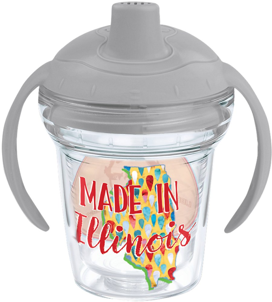 Tervis 1248888 Made In Illinois Insulated Tumbler with Wrap and Moon Dust Gray Lid 6 oz Clear