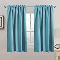2X Blackout Curtains Pair   Blockout Back Tab/Rod Pocket Window Curtain Draperies for Living Room/Bedroom Soft Thick…