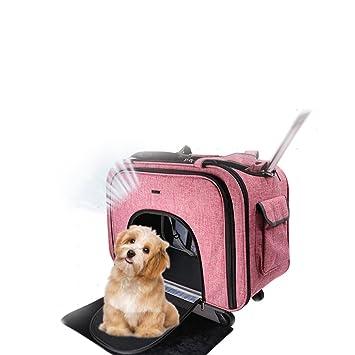 Cutepet Transportín Carrito Multiusos Mochila De Viaje Nylon para Perros Gatos Y Otros Animales Pequeños 2 En 1 Mochila Carrito 58 * 38 * 32 Cm,Pink: ...