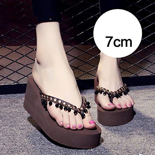 sandalias Negro 7cm Brown Marrón Gris Beige MEIDUO Zapatillas cómodo Chanclas antideslizantes U5nxw6qzIP