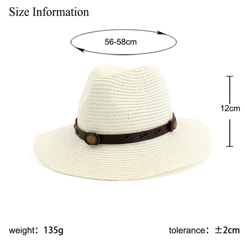 Vim Tree Man and Womans Wide Brim Straw Panama Hat Fedora Beach Sun Hat with Band UPF50+