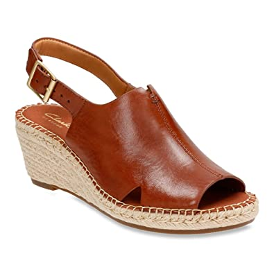 CLARKS Women's Petrina Mera Wedge Sandal,Nutmeg Full Grain Leather,US ...