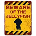 Print Crafted - Beware of The Jellyfish | Funny Vintage Metal Garden Warning Sign