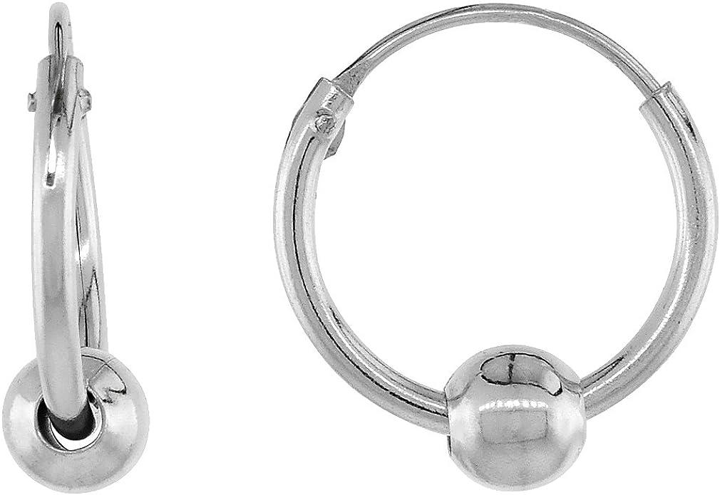 925 Sterling Silver Polished Ball Endless Hoop Earrings