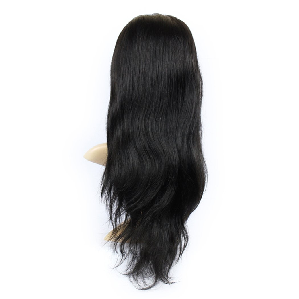 Enoya Human Virgin Hair Full Lace Wigs/Silk Top Full Lace Wigs Brazilian Silky Straight Hair Lace Wig with Baby Hair For African Americans (18'' full lace wig, Natural Color)