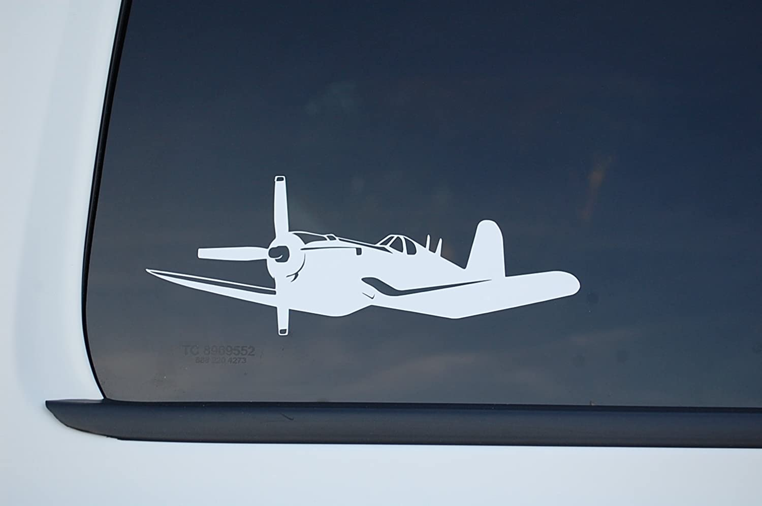 "Corsair Airplane Sticker Vinyl Decal CHOOSE COLOR!! 8"" X 3"" Warbird Navy Fighter Plane Military Car Window Laptop (V532) (White)"