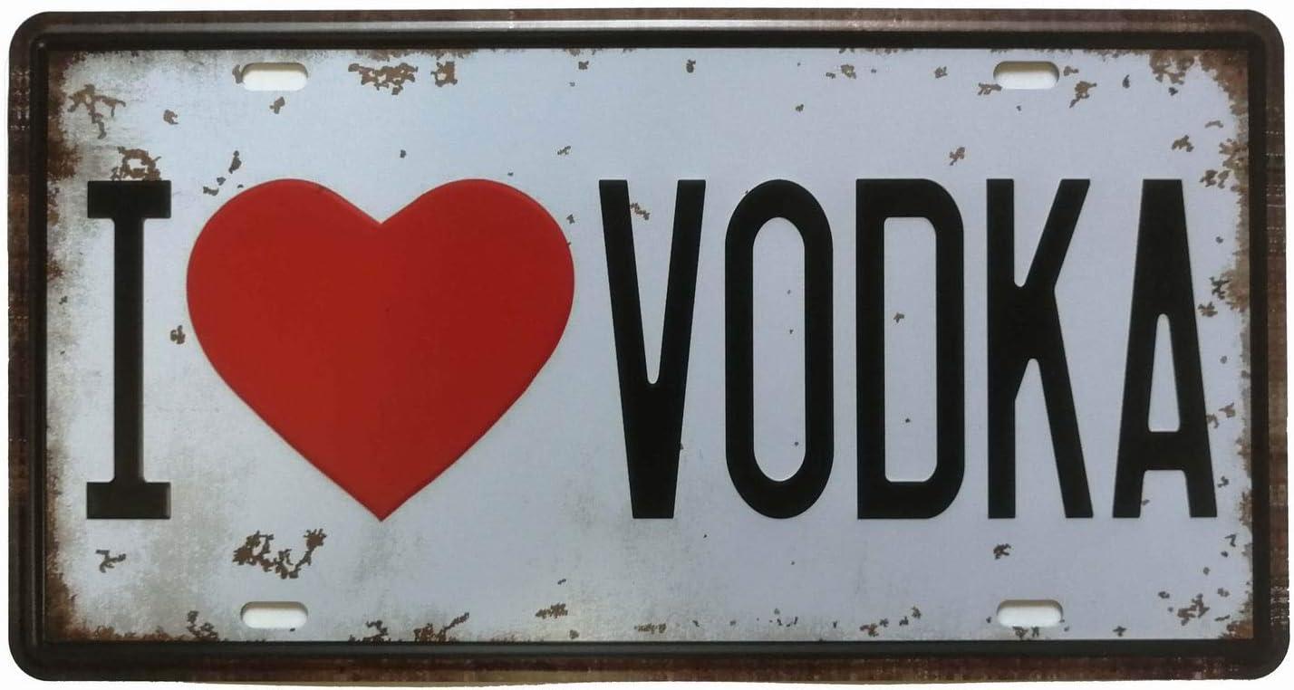 ifidex Eletina Letrero de Lata con inscripción en inglés «I Love Vodka Retro Vintage Auto