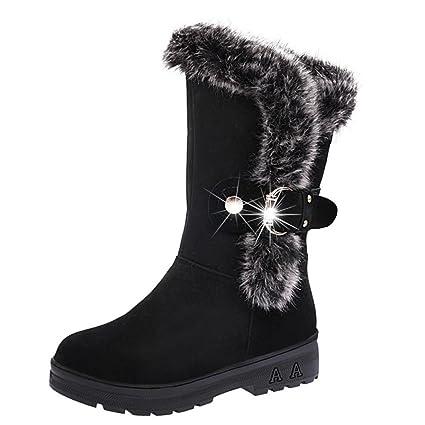 XINANTIME - Botas de nieve blanda con cordones para mujer, Botines planas de invierno con
