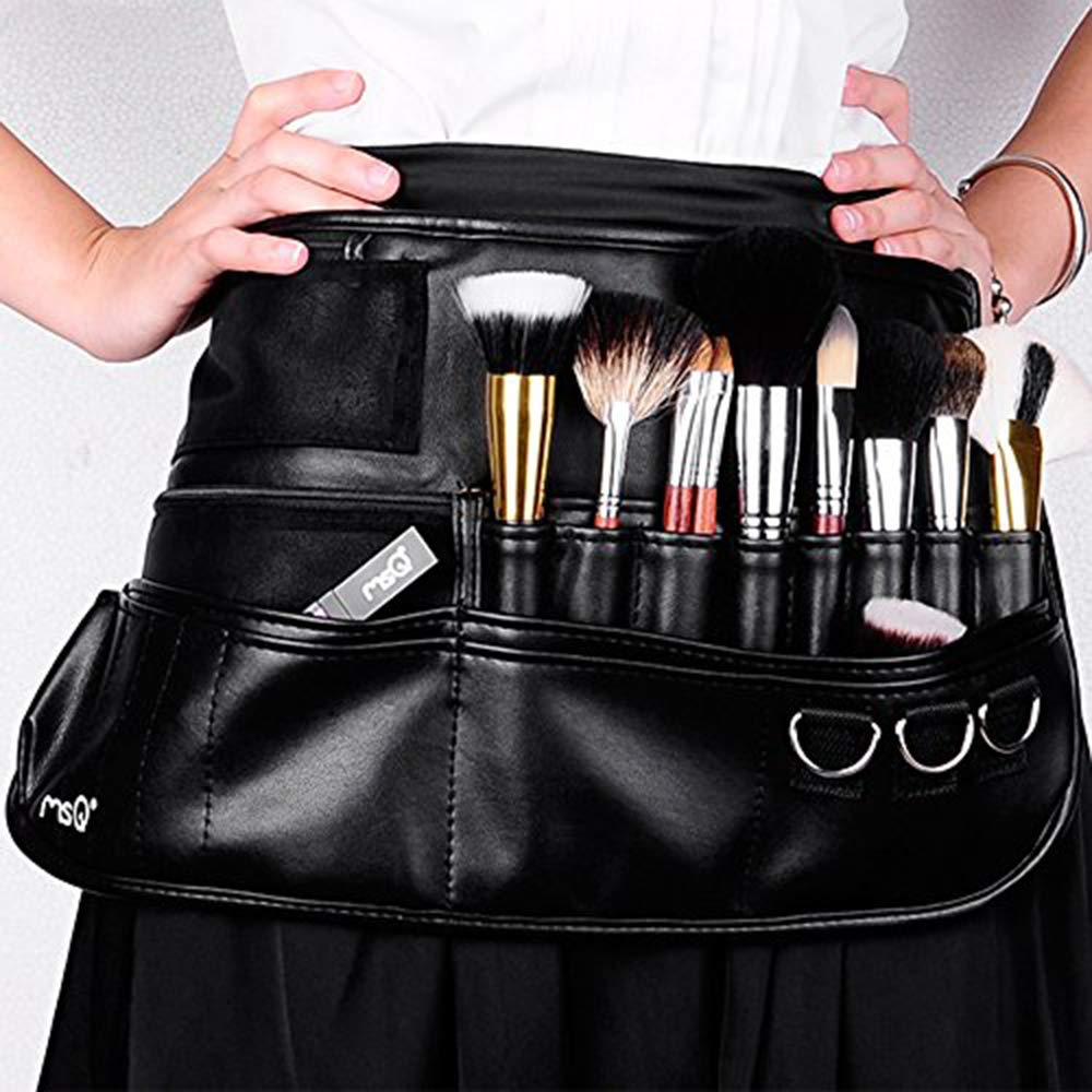 MSQ Makeup Brush Belt Apron Bag Case Multi Pocket Foldable Fanny Pack Cosmetic Brush Pouch Holder Organizer with Adjustable Artist Belt Strap Best for Artist / Fashion Stylist