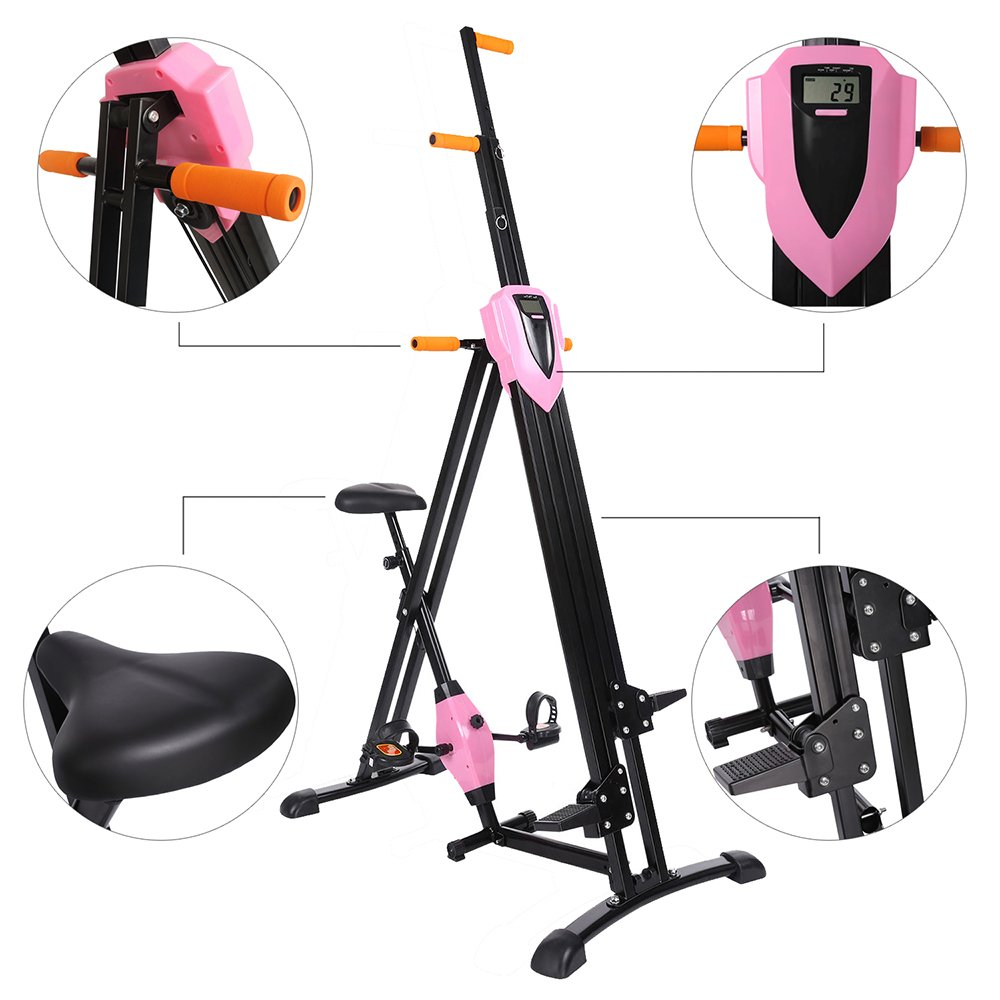 Stair Climber Machine, Vertical Climbing Exercise Machine, Fitness Stepper Gym, Cardio Workout Training (Pink2)