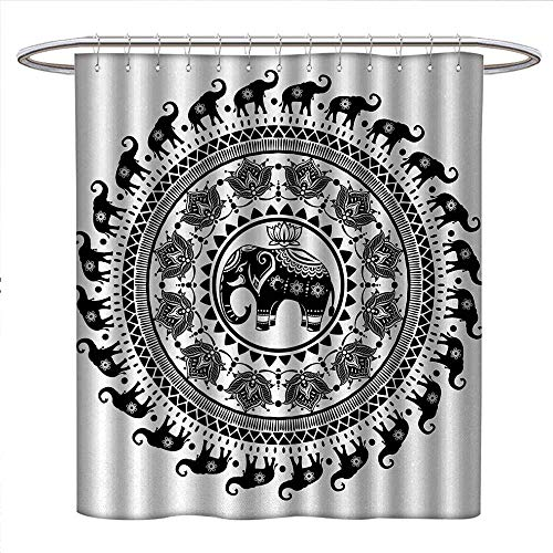 Elephant Mandala Shower Curtain Customized Seven Royal Symbols and a Guardian of Temples Spirit Animal Circle Patterned Shower Curtain W69 x L75 Black and White