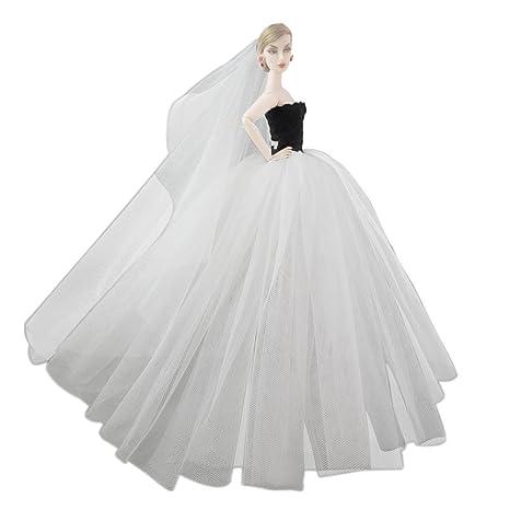 f95248a26e0a Beetest Elegante Fata Abiti per Barbie Doll   Barbie Bambole Matrimonio  Abito Partito Vestito con Testa