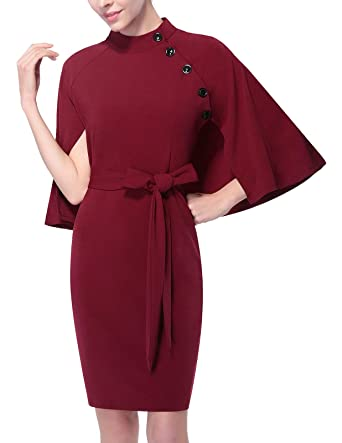 cc8cc5f69b Mavis Laven Womens Elegant Classy Slim Fit Bodycon Wrap Dress Wine Red  Medium