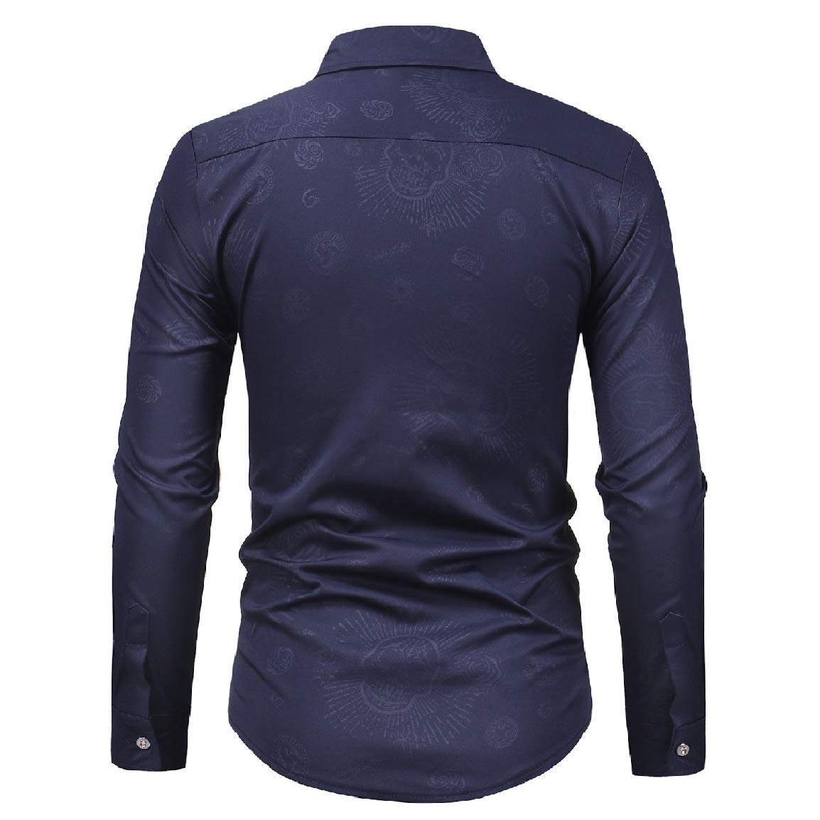 Nicelly Mens Dark Bands Turn Down Collar Casual Long-Sleeve Fitted Shirt