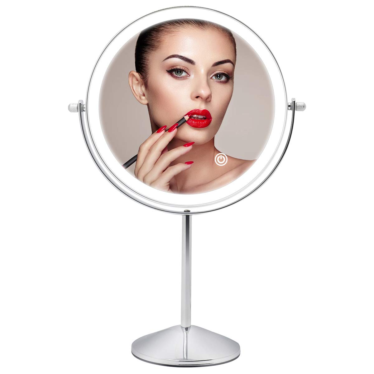 Lighted Makeup Mirror 10x Magnification, 8 Inch Rechargeable Tabletop Vanity Mirror Double Sided, 360 Degree Swivel Cosmetic Mirror with Touch Control Lights Brightness Adjustable, Chrome Finish