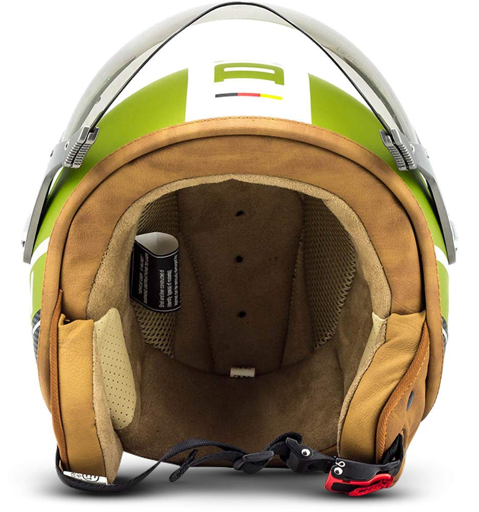 SOXON SP-325-PLUS Yellow /· Vespa Scooter Biker Chopper Helmet Mofa Retro Urban Moto motocicleta Bobber Urbano Piloto Casco Demi-Jet Cruiser Vintage /· ECE certificado /· incluyendo parasol /· incluyendo bolsa de casco /· Amar